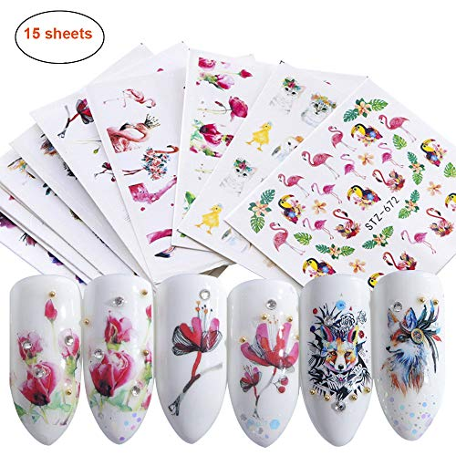 (Nail Stickers Set Nail Art Self-Adhesive Watermark Stickers Nail Water Transfer Applique with Flamingo Owl Flower Animal Designs Manicure Tips Foil Nail Decals for Women, Girls(15 sheets))