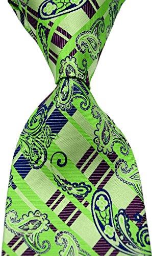 Scott Alone : New Classic Striped Paisley Jacquard Woven Silk Mens Tie Necktie (Green)