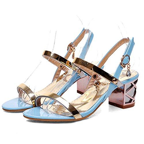 Punta Zapatos Coolcept Verano Sandalias Mujer Ancho Abierta Blue Tacón Moda xxAXq4U
