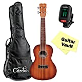 Cordoba 15CM-E Sunburst Concert Acoustic Electric Ukulele W/ Gig Bag, Tuner and Cleaning Cloth