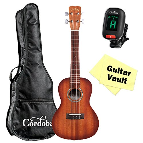 Cordoba 15CM-E Sunburst Concert Acoustic Electric Ukulele W/ Gig Bag, Tuner and Cleaning Cloth by Cordoba