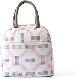 ReaLegend Portable Waterproof Lunch Bag Cooler Carry Bag Tote Bag Picnic Food Holder Bento Lunch Pouch Travel Totes - Elegance White