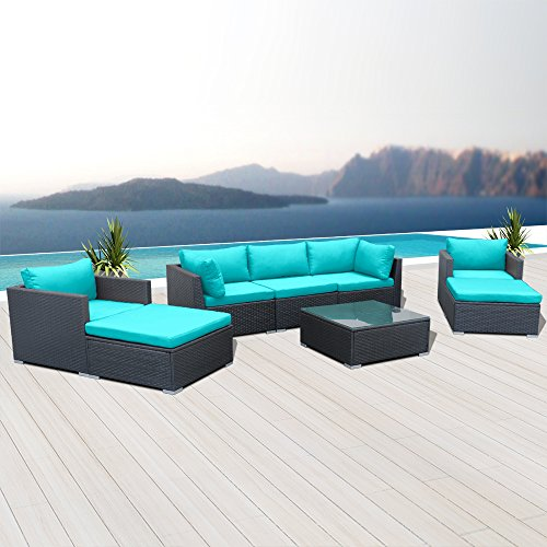 Modenzi V8-U Outdoor Sectional Patio Furniture Espresso Brown Wicker Sofa Set (Turquoise) Review