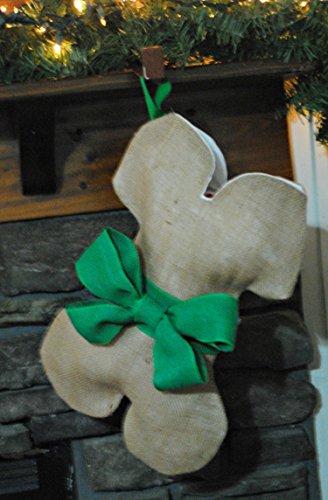 Burlap Dog Bone Christmas Holiday Stocking With Green Bow & Name Tag