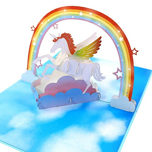 - HUNGER Handmade 3D Pop Up Unicorn Birthday Cards Creative Greeting Cards Papercraft (Unicorn)