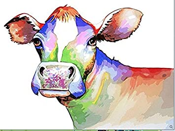 Amazon.com: Colorful Cow - DIY Oil Painting Home Decor,Children\'s ...