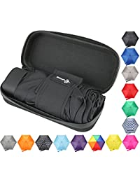 Travel Umbrella with Waterproof Case - Small and Compact for Backpack or Purse