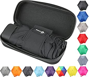 Travel Umbrella with Waterproof Case - Small and Compact Umbrella for Women or Kids. Perfect for a Car Umbrella