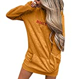 Dimanul✿Womens Long Sleeve Hoodie Solid Patchwork Casual Long Hooded Sweatershirt Dress T Shirt Pullover
