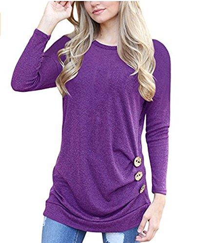 shirt amp;x Informale Manica Felpa Donna Cxq Camicetta Girocollo Pullover Qin Lunga Purple t Shirt Tops Allentato T ZRtxqpF