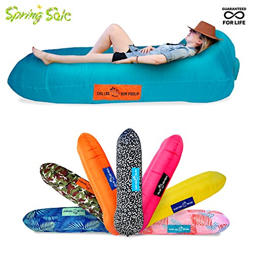 Chillbo DON POOLIO Best Pool Floats BRAND NEW DESIGN Inflatable Lounger River Float Air Lounge Hammock Sun Bed Pool Toy Floating Mattress (PATENT PENDING) (Turquoise + Orange) Lounger Pool Float Toy