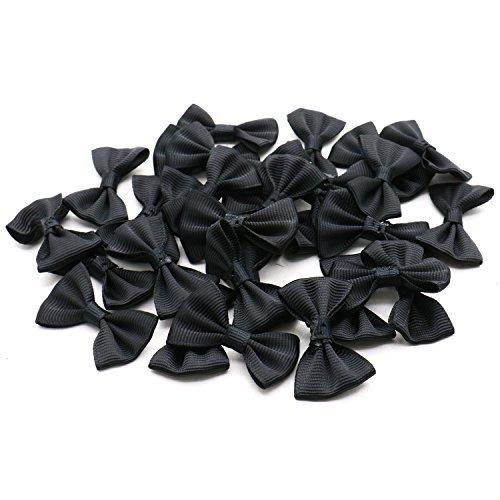 Mini Bow Tie - Rugjut 30pc DIY Satin Ribbon Mini Bow Tie Bows Ribbon Bows Mini Mixed Embellishment Craft Artificial Applique Wedding (Black)