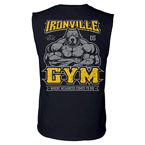 Ironville Gym Pitbull - Where Weakness Comes to Die Sleeveless Bodybuilding Tee (Small, Black)