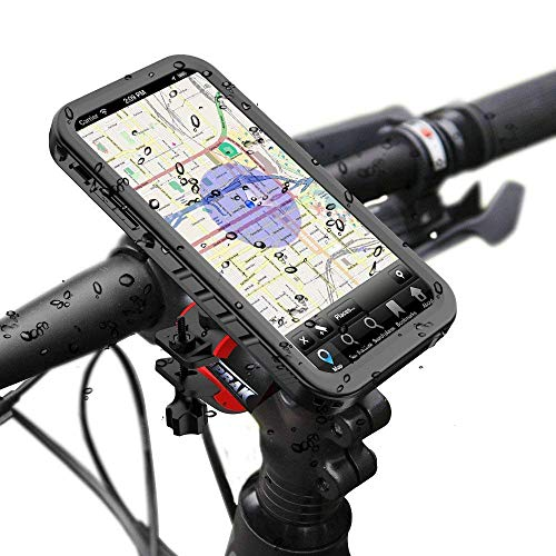 Bike Phone Mount Kit for iPhone X - Bike Phone Holder and Fully Sealed iPhone X Waterproof Case - 360° Rotatable Bicycle Phone Mount for All Motorcycle Bike Handlebar and (Waterproof Bike Mount)