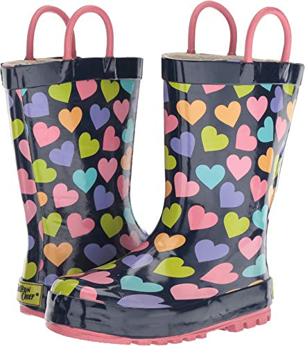 Western Chief Boys Kid's Waterproof Printed Rain Boot, Happy Hearts, 7/8 M US Toddler (Boots Western Girl Toddler)
