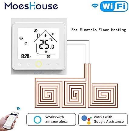 wei/ß MOES Smart Thermostat WiFi Temperaturregler Smart Life APP Fernbedienung f/ür elektrische Heizung funktioniert mit Alexa Google Home 16 A