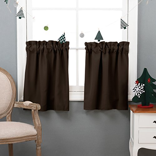 NICETOWN Half Window Blackout Curtains- Rod Pocket Tailored Tier /Valance /Cafe Curtains (1 Pair, W29 X L24 Inches,Brown) - Long Tailored Curtain Panel