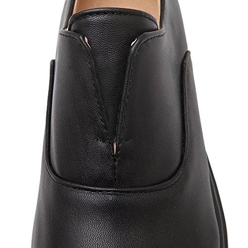 Fermeture Chaussures Noir Microfibre Femme Bas à Talon Tire AgooLar d'orteil Légeres 8pqF1nxg