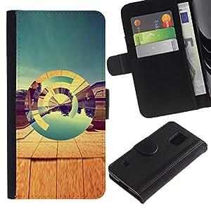 For Samsung Galaxy S5 V SM-G900,S-type® Desert Abstract 3D Teal Art Design Nature - Dibujo PU billetera de cuero Funda Case Caso de la piel de la bolsa protectora
