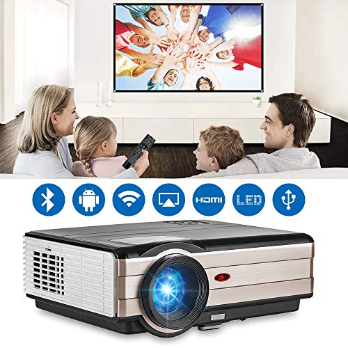 "EUG 4200 lumen HDMI Android WiFi LCD Projector WXGA LCD TFT Display Max 200"" 16:9 Widescreen Smart Wireless TV Video Projectors for Gaming Smartphone Laptop DVD Playstation Xbox Wii"
