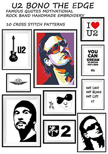 U2 music wall art handmade cross stitch pattern Bono The Edge guitar Famous quotes motivational Silhouette black modern embroidery Rock band Decoration for home poster hand make gift for him or her