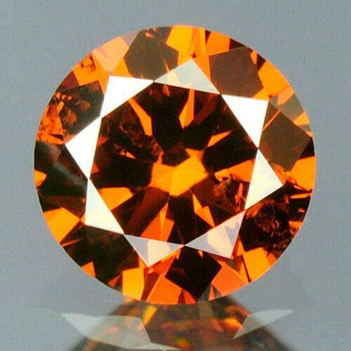 (0.18 cts. CERTIFIED Round Cut SI3 Orange Red Color Loose Natural Diamond 11184)
