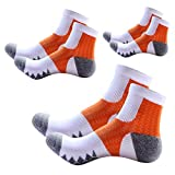 TangTown Men's COOLMAX Athletic Ankle Socks Sports Outdoor Performance Running Cushioned Crew Socks (Orange-White-3Pairs) Review