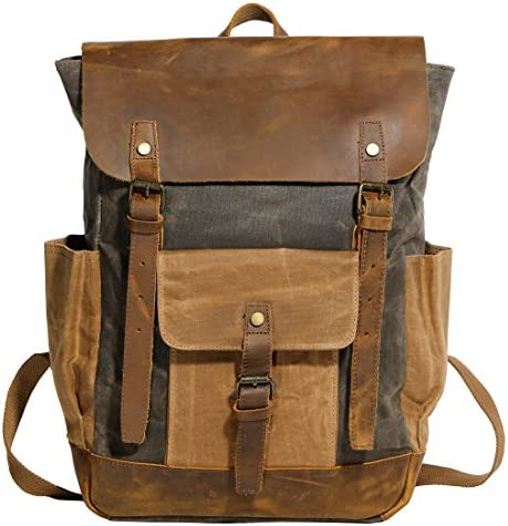 Vintage Canvas Waxed Leather Backpack w Laptop Storage Large High School, College,Travel Bag Canvas Cotton Craftsmanship All-Purpose Rucksack Men, Women, Kids