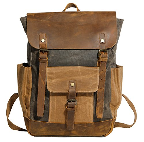 Partrisee Vintage Canvas Leather Backpack for Men Women Girls Student Large 15.6'' Waxed Rucksack School Gift Bag -Army Green