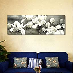 Wieco Art - Magnolia Modern Wrapped Floral Artwork Giclee Canvas Prints White and Grey Flowers Pictures Paintings on Canvas Wall Art Ready to Hang for Living Room Bedroom Home Decorations 48x16