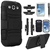 Galaxy S3 Case, Samsung Galaxy S3 Case, Rugged Shell with Built-in Kickstand and Locking Belt Clip + Circle(TM) Stylus Touch Screen Pen And Screen Protector-Black