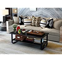 Elevens 48 Wood & Steel Rectangular Best Coffee Table with Storage Shelf and Sturdy Metal Frame,Espresso (Black)
