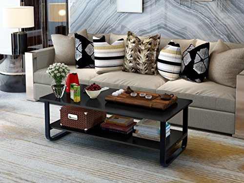 "Elevens 48"" Wood & Inure Rectangular Best Coffee Table with Storage Shelf and Sturdy Metal Frame,Espresso (Black)"