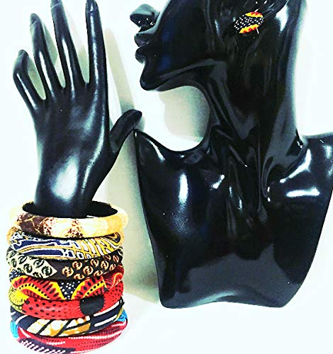 African Print Ankara Fabric Wooden Bangle With Matching African Map Earrings