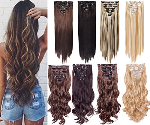 7Pcs 16 Clips 20-24 Inch Thick Curly Straight Full Head Clip