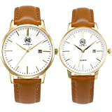 Fendior Waterproof Loves Watches Women Girls Brown Leather Band Ultra Thin Easy to Read Analog Wristwatch