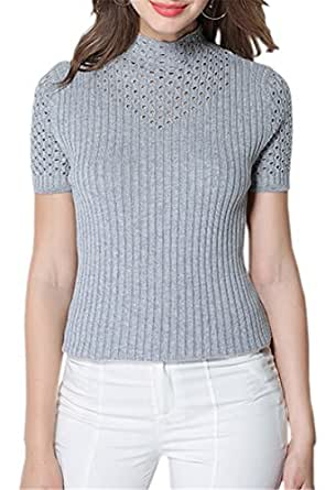 DAIMIDY WOMEN Women's Short Sleeves Mock Neck Polo Cashmere Crochet Knitted T Shirt Tops, Light Grey, Tag L = US M(8)