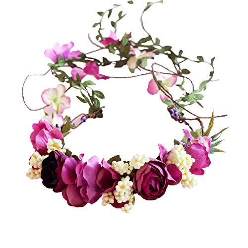 - Vine Flower Crown Boho Flower Headband Hair Wreath Floral Headpiece Halo with Ribbon Wedding Party Festival Photos
