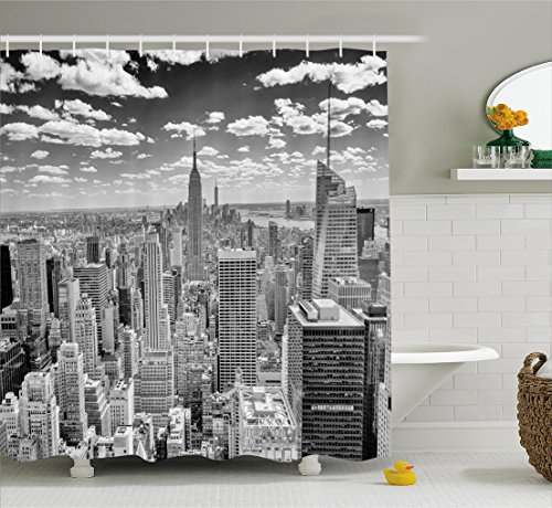 Ambesonne York Shower Curtain, NYC Over Manhattan from Top of Skyscrapers Urban Global Culture Artful City Panorama, Fabric Bathroom Decor Set with Hooks, 75 Inches Long, Grey