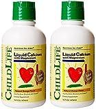 ChildLife Liquid Calcium with Magnesium, Orange Flavor 16 ounce (Pack of 2)