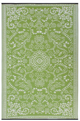 Fab Habitat Murano Recycled Plastic Rug,  Lime Green & Cream, (3' x 5') (Plastic Recycled Rugs)