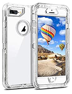 Coolden Hybrid Clear Case for iPhone 8 Plus / 7 Plus Heavy Duty Protective Dual Layer Shockproof Case with Hard PC Bumper Soft TPU Back for 5.5 Apple.