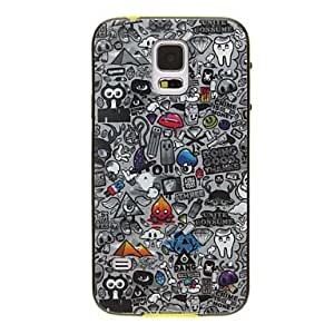TOPMM Scrawl Cartoons Pattern Detachable Plastic Soft Back Case Cover for Samsung Galaxy S5 I9600