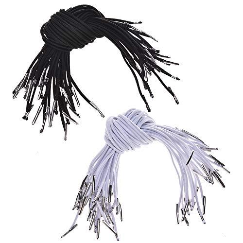 Feeko Elastic Cord, 60 Crafts Menu Mask Badge Logo with Barbed Wire Elastic Ring Metal Barb Fasteners for Mask Making Binding Hanging Public Welfare Black -