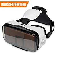 """SMAVR 3D VR Immersive Headset Glasses, Virtual Reality Viewer Helmet Goggles, Private Theater for Movie & Games. Adjustable Pupil, Fit for Most Users via iOS & Android Phone within 4.7""""-6.2"""" (White) from SMAVR"""