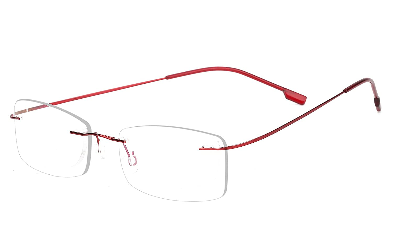 Agstum Mens Womens Titanium Alloy Flexible Rimless Frame Prescription Eyeglasses 51mm 51) A-3040