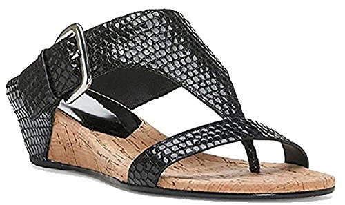 Donald J Pliner DOLI2 Patent Snake Print Leather Wedge Sandal, Black, 6 ()