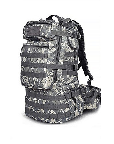 MaxMiles Tactical Backpack Molle Backpacks Assault Gear Camo Navy Army Surplus Pack 45 liters Hiking Backpack Military Rucksacks for Outdoor Hiking Camping Trekking Hunting (Forest ACU)