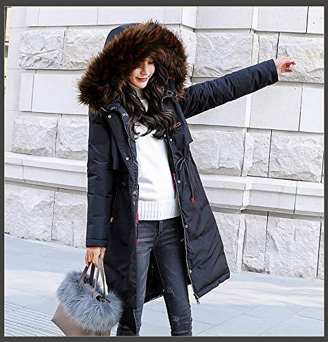 In Nero Con Donna Elegante Piumini Parka Manica Outdoor Cappuccio Invernali Vintage Giacche Addensare Giaccone Fashion Lunga Caldo Pelliccia Chic Cappotti Inverno Ragazza Invernale Stampate 7vSgw5qx