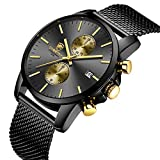 GOLDEN HOUR Men's Watch Fashion Sport Quartz Analog Black Mesh Stainless Steel Waterproof Chronograph Watches, Auto Date in Red/Gold Hands